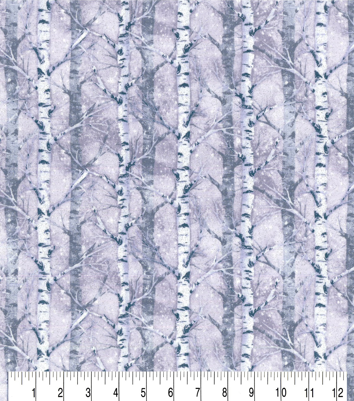 Christmas Glitter Cotton Fabric-Birch Trees in Winter