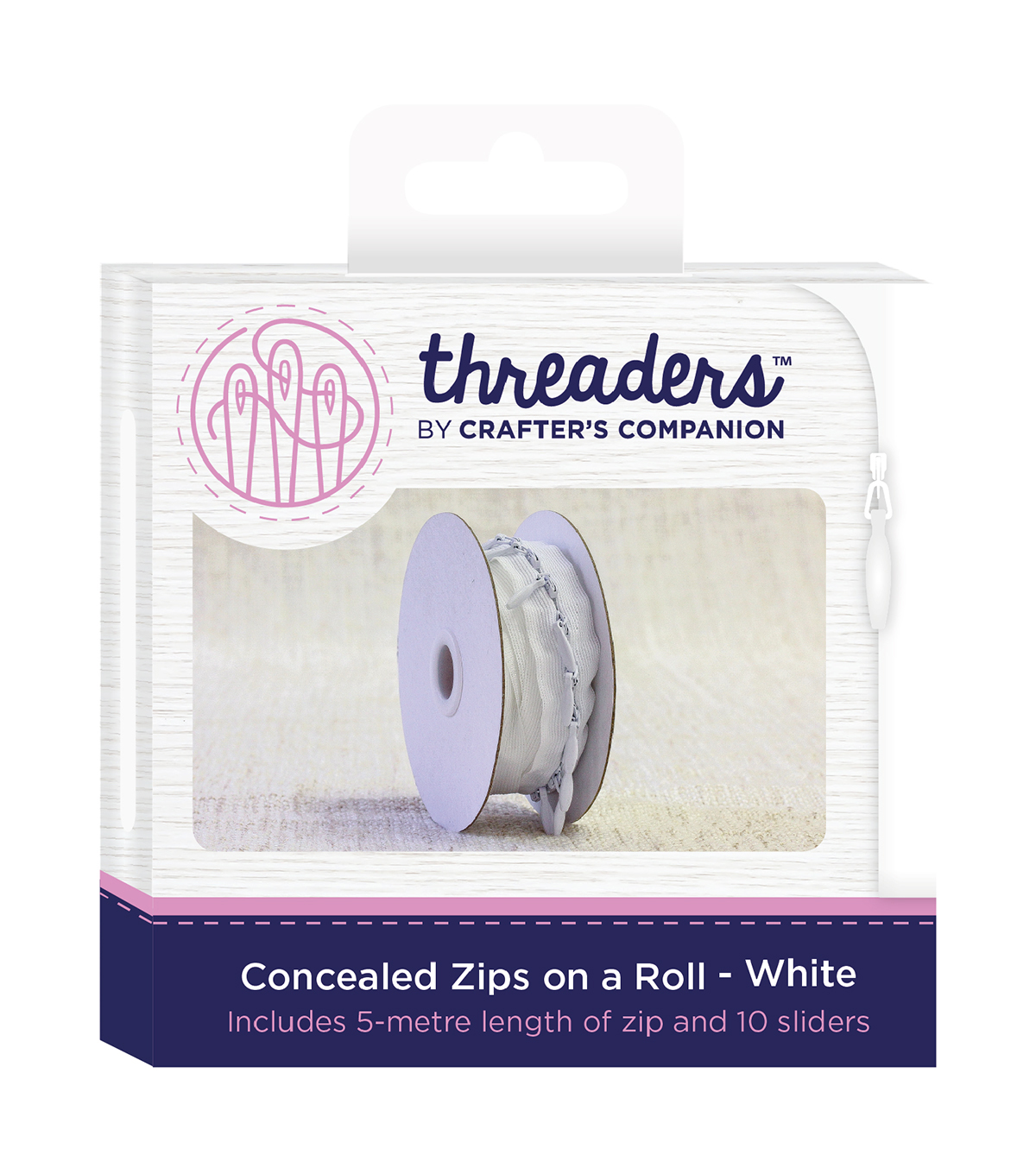 Threaders Concealed Zips on a Roll-White