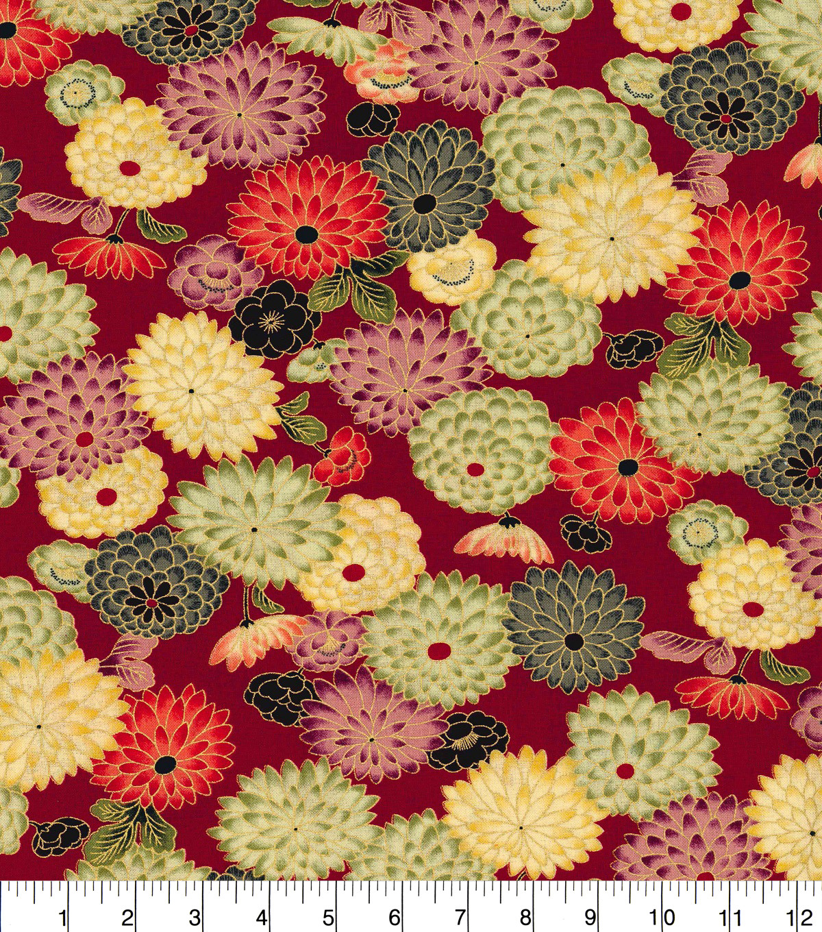 Asian Inspired Cotton Fabric 44\u0022-Lotus Flowers Red Met