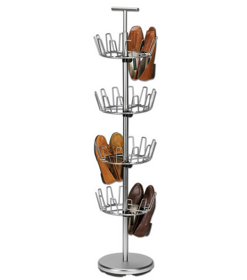 Household Essentials Satin Nickel 4-Tier Revolving Shoe Tree