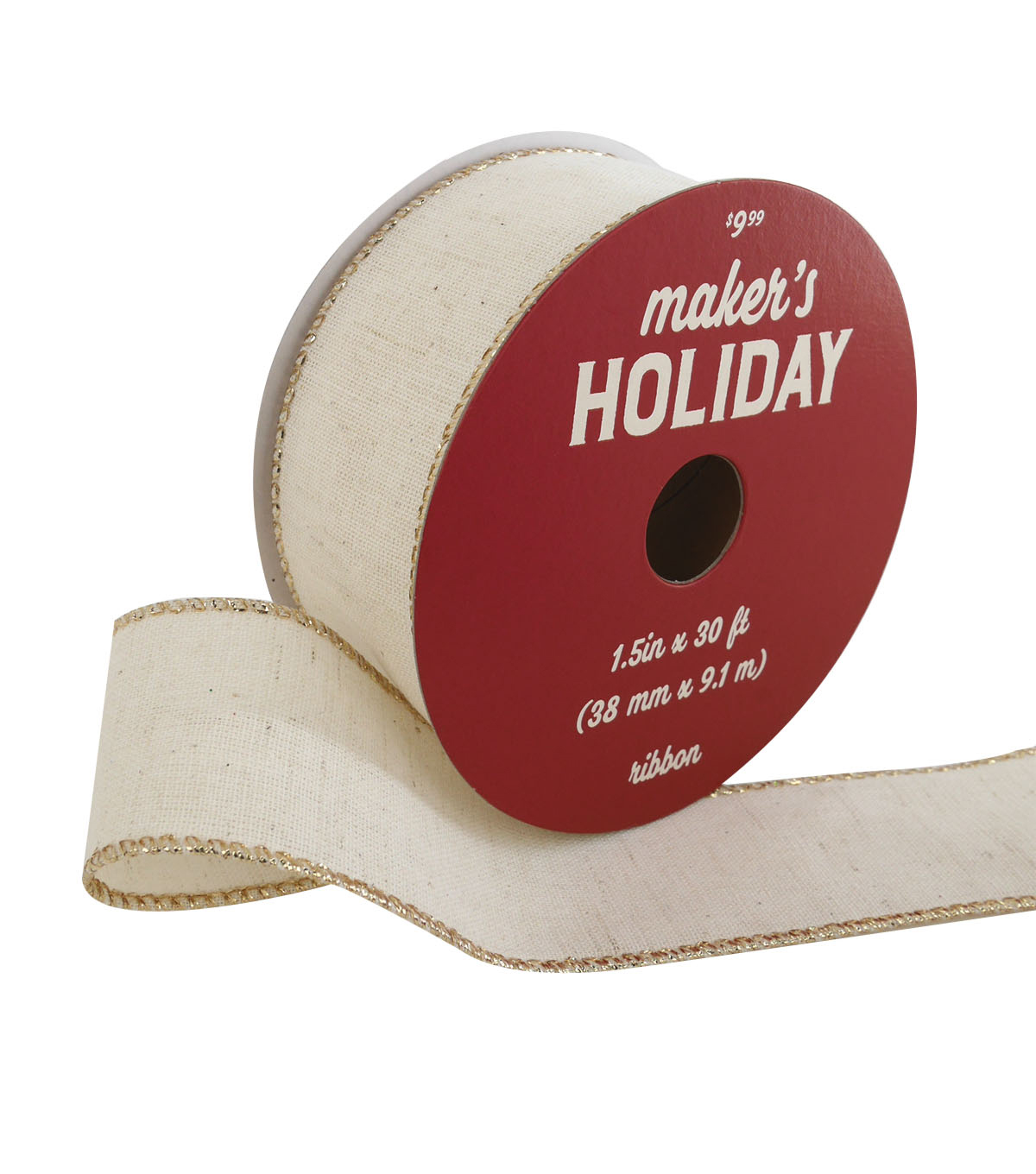 Maker\u0027s Holiday Christmas Ribbon 1.5\u0027\u0027x30\u0027-Ivory with Metallic Edge