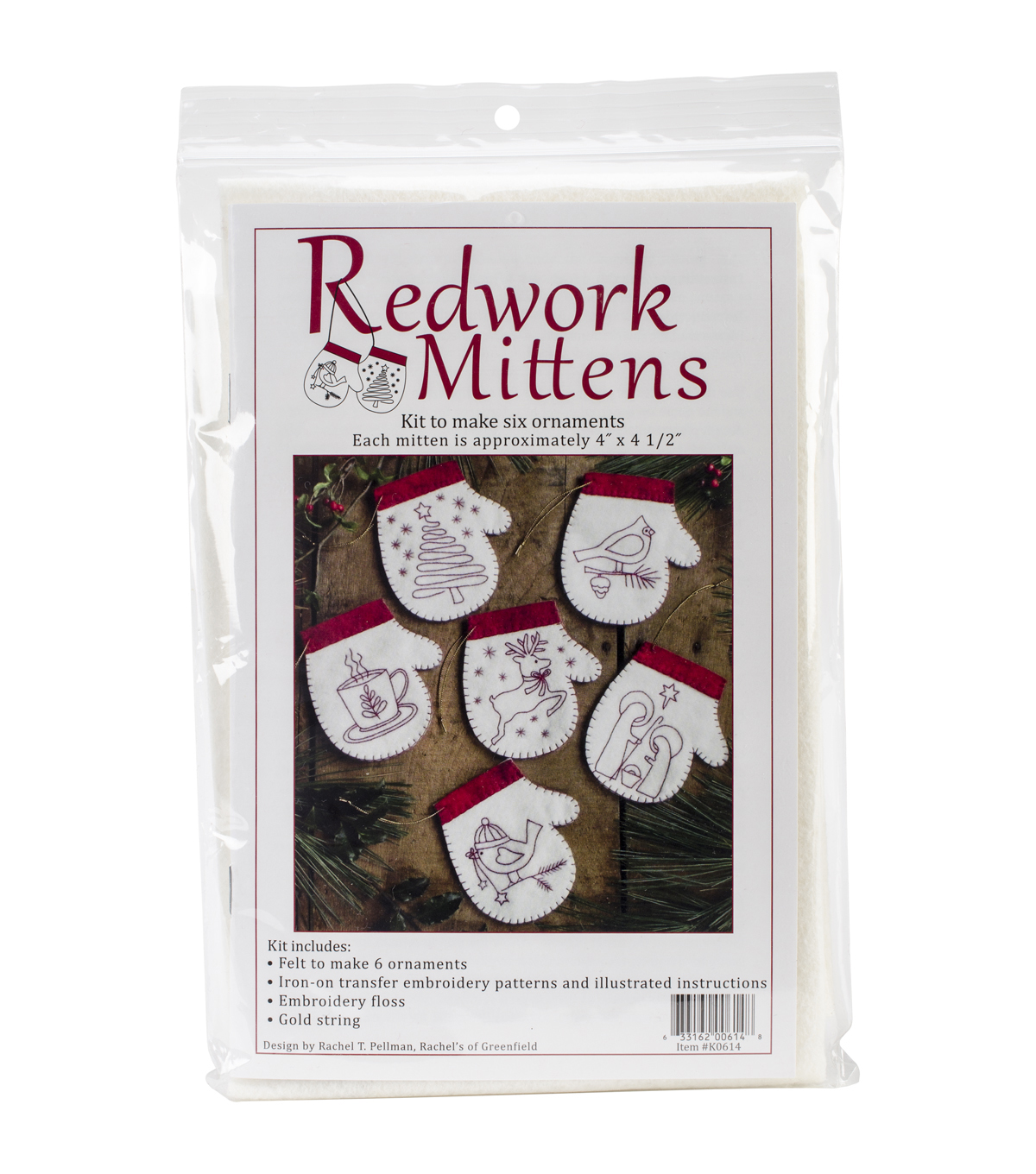 Redwork Mittens Ornament Kit-Set Of Six