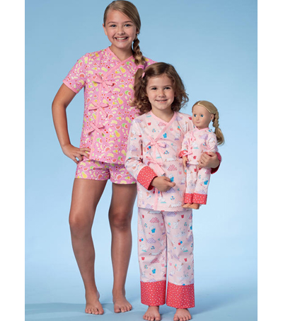 McCall\u0027s Pattern M7497 Girls\u0027 Apparel & Top & Pants for Doll-Size 7-14