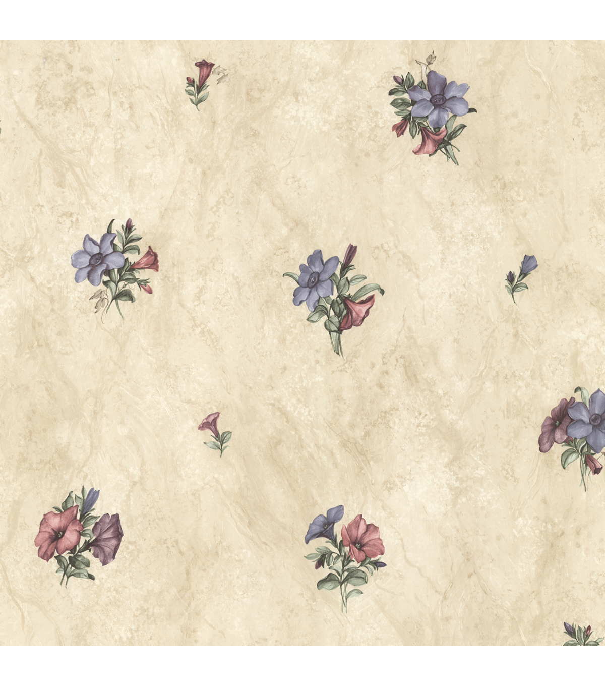 Petunia Purple Marble Floral Wallpaper