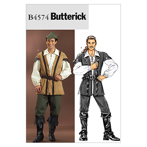 Butterick Pattern B4574-Vest, Laced Shirt, Pants and Hat, Size Xl-xxl