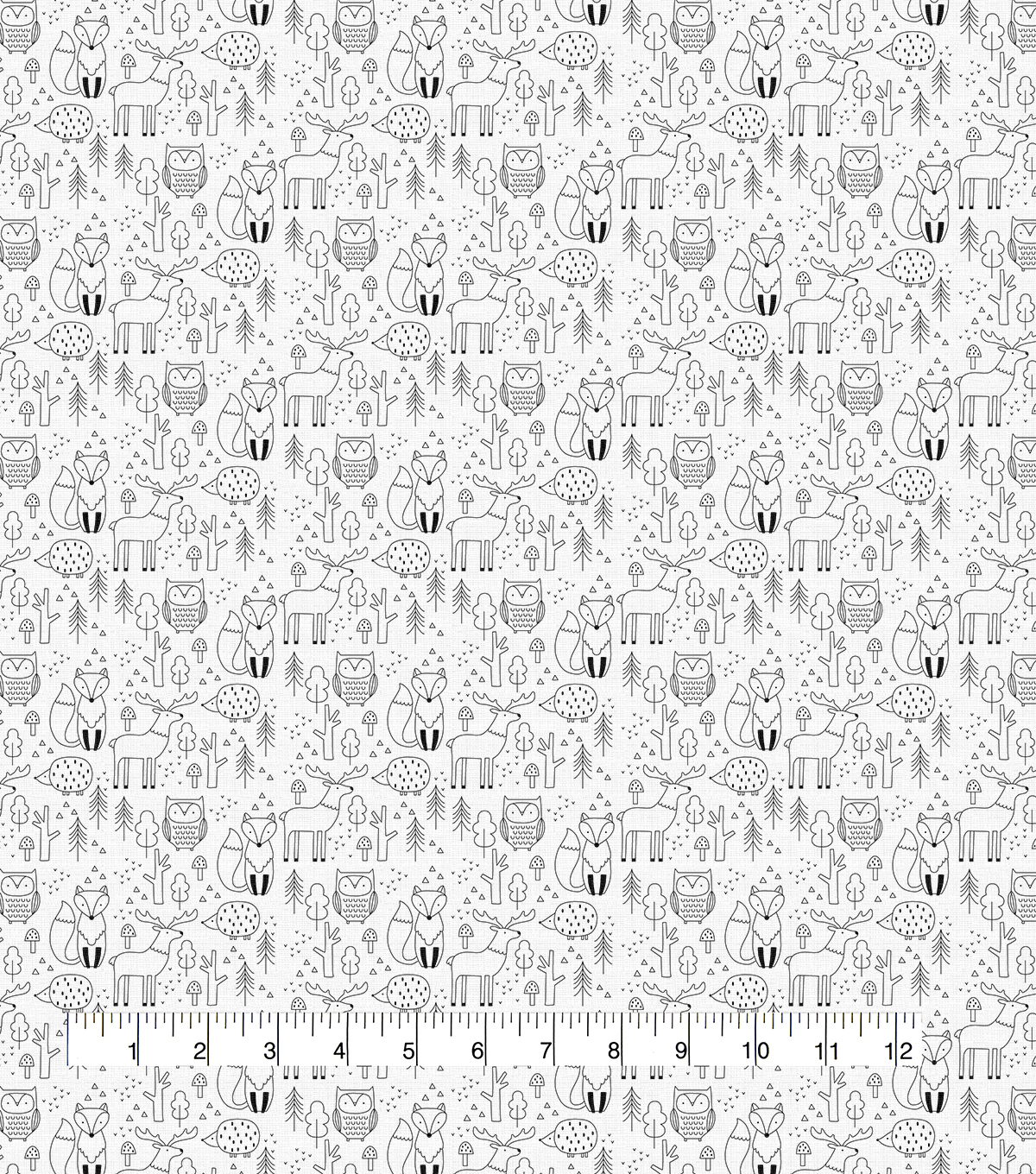 Novelty Cotton Fabric-Simple Sketched Woodland