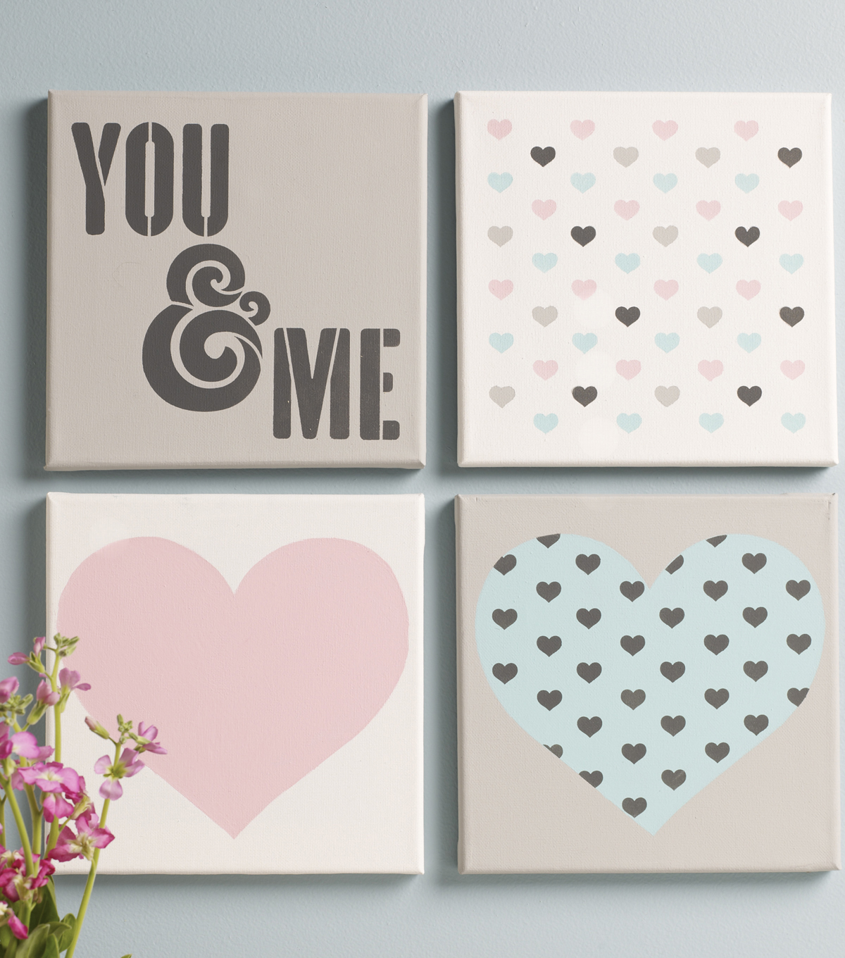 FolkArt 8\u0027\u0027x8\u0027\u0027 Craft Stencil Value Pack-You & Me