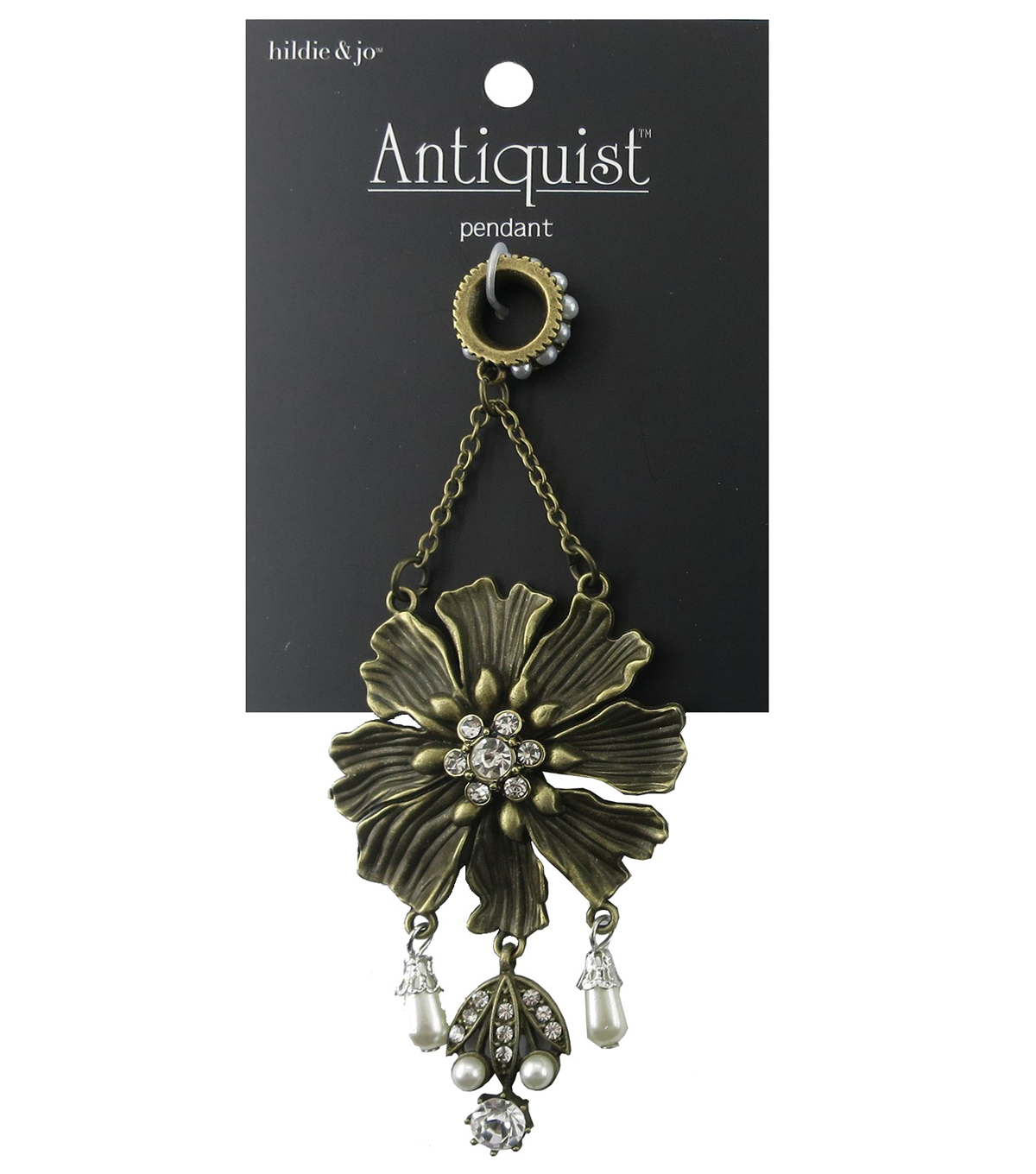 hildie & jo Antiquist Flower Antique Gold Pendant with Dangle