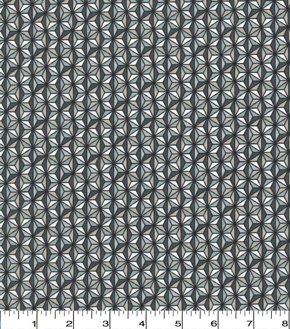 Quilter\u0027s Showcase Cotton Fabric -Taupe Gray Geometric Triangles