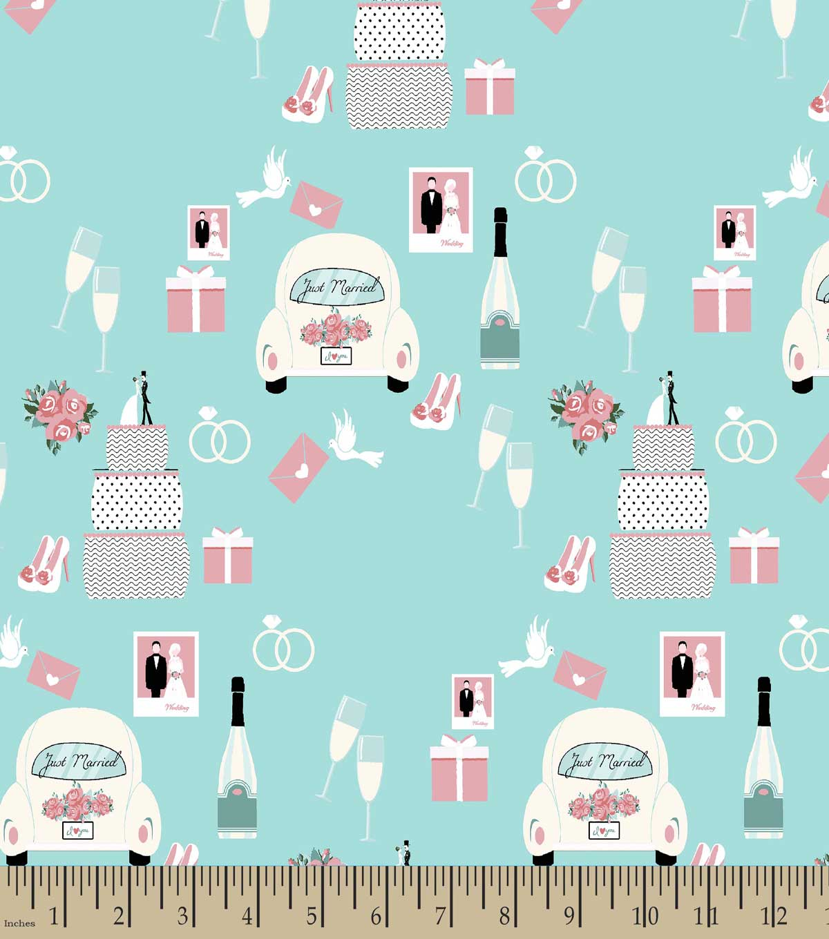 Just Married Print Fabric