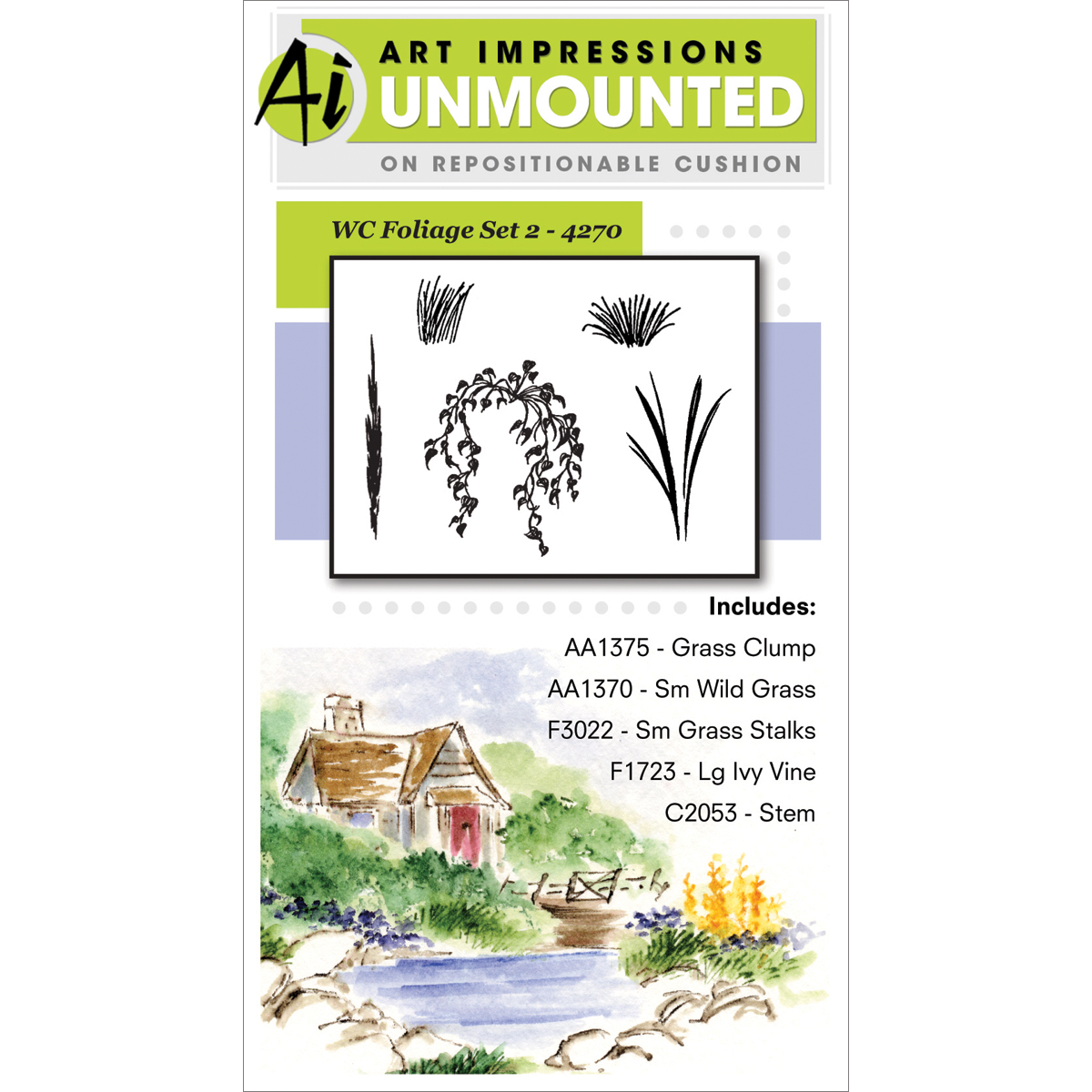 Art Impressions Watercolor Cling Rubber Stamp Foliage Set 2