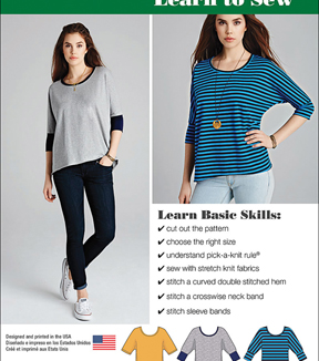 Simplicity Patterns Us1062A-Simplicity Misses\u0027 Learn To Sew Knit Tops-Xxs-Xs-S-M-L-Xl-Xxl