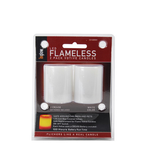 Inglow Unscented Flameless Votive Candles 2pk-White