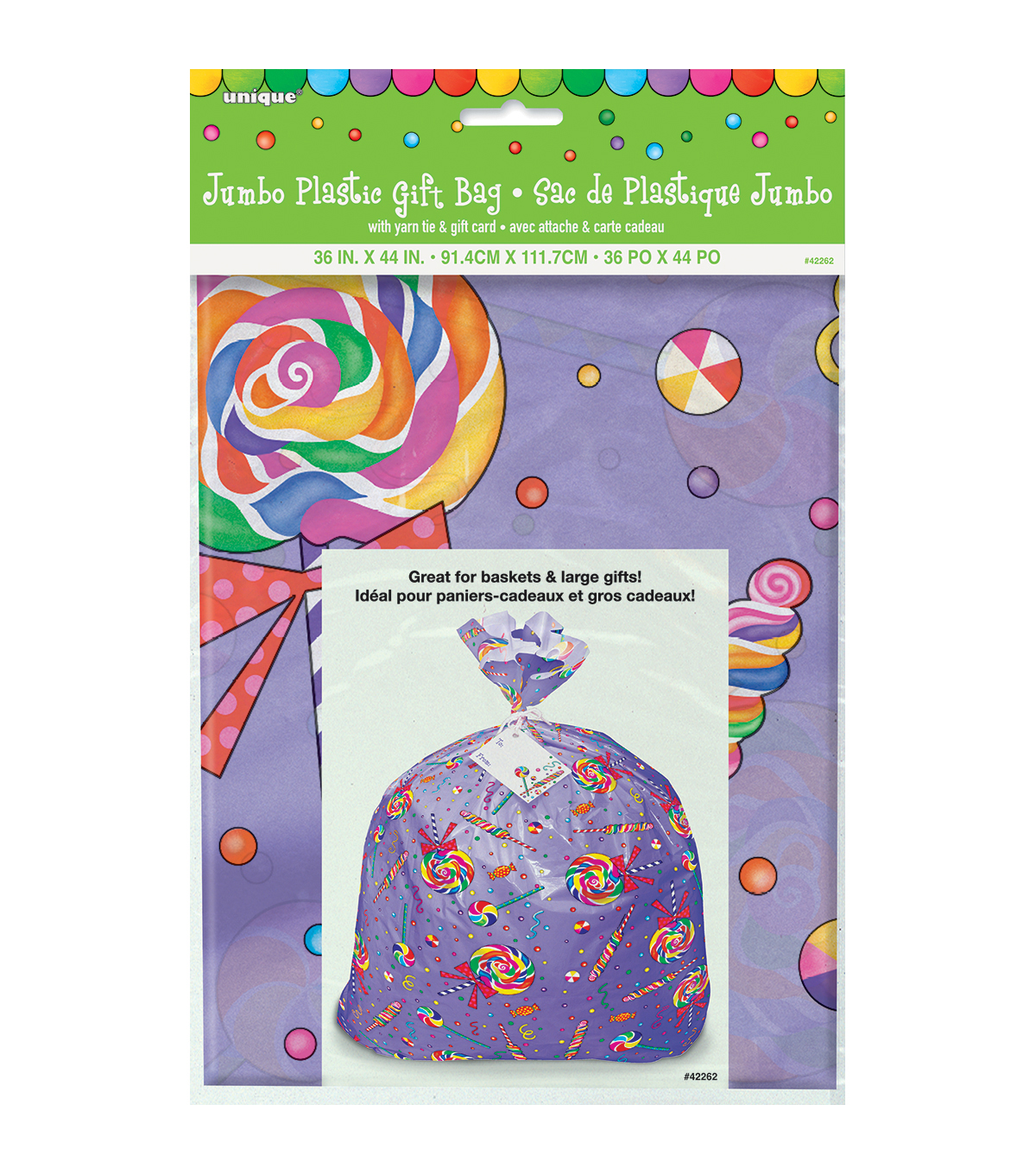 Unique Industries Candy Party Jumbo Plastic Gift Bag