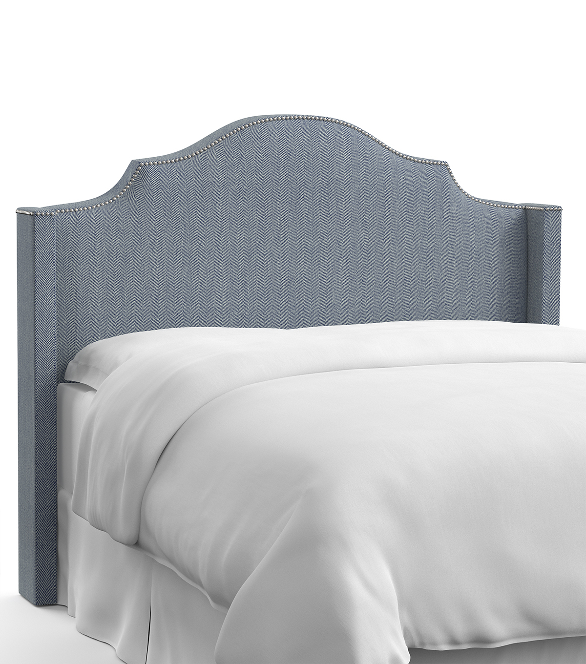Skyline Furniture Nail Button Notched Wingback Headboard-Full