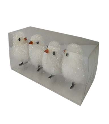 Blooming Holiday 4 pk Sisal Birds-White