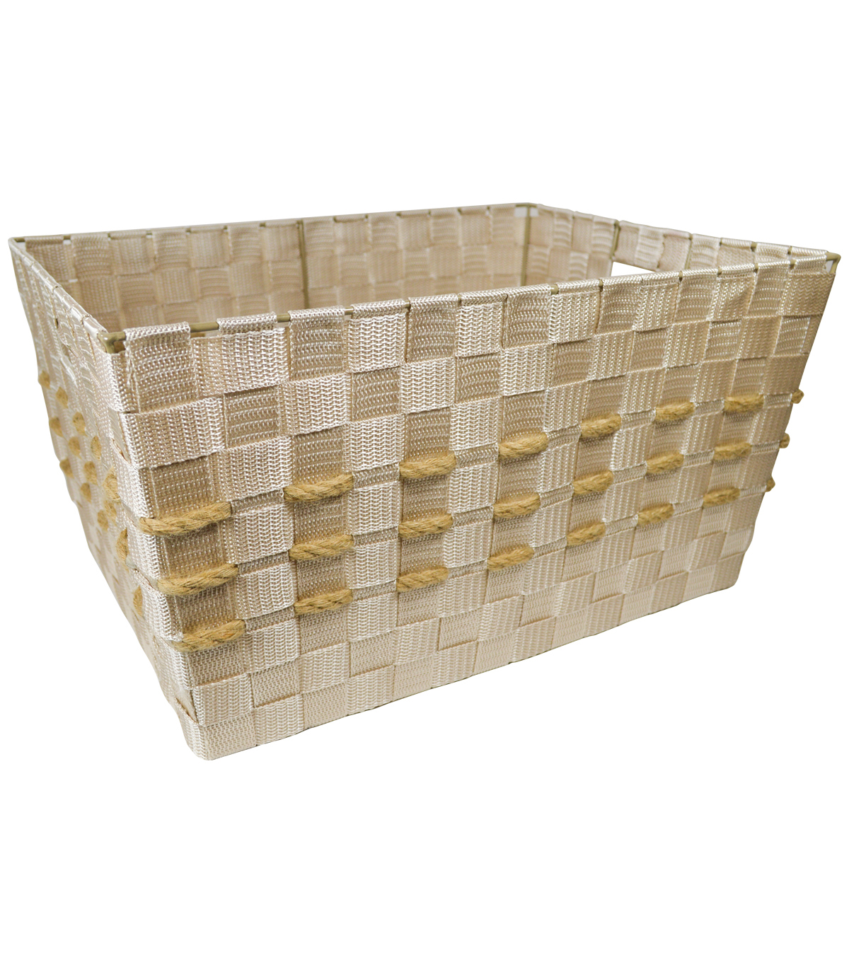Organizing Essentials Large Strap Bin With Hemp Yarn-Ivory