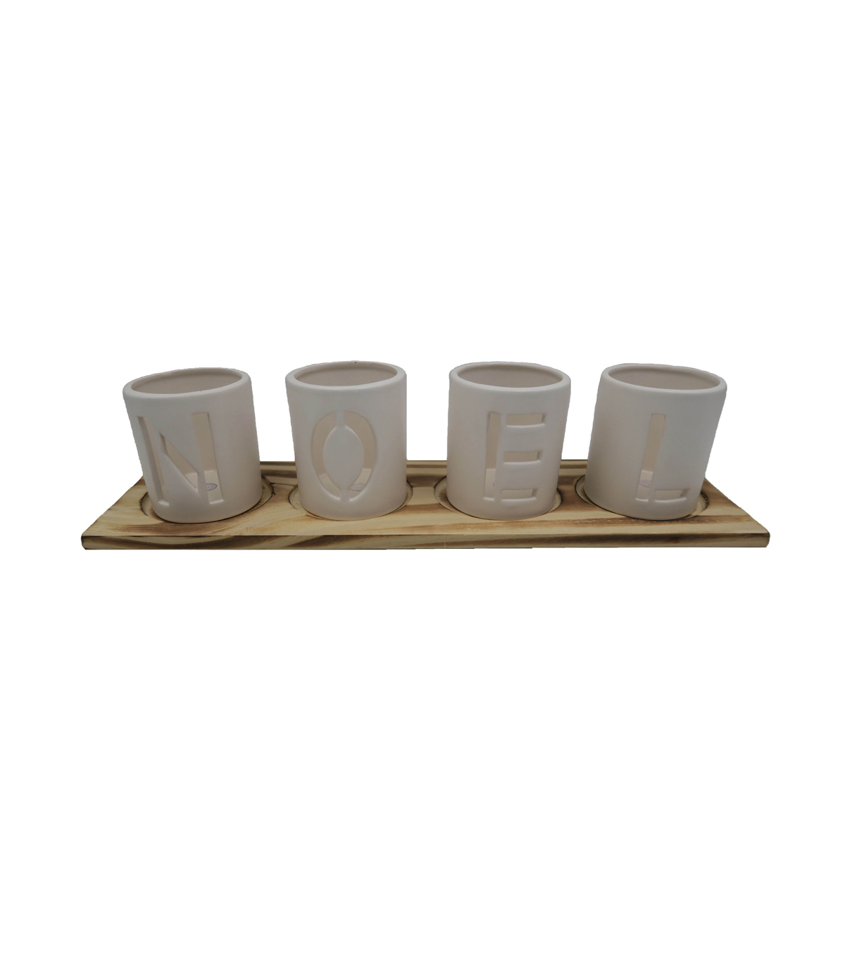 Maker\'s Holiday Christmas Farmhouse Ceramic Candle Holders-Noel | JOANN