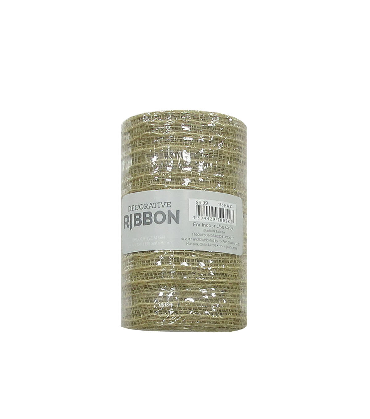 Decorative Ribbon Metallic Deco Mesh 5.5\u0027\u0027x10 yds-Natural Jute