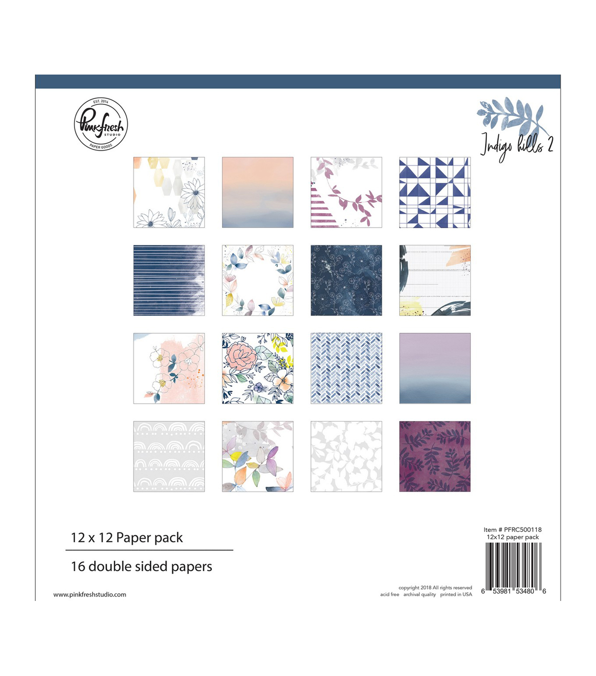 Pinkfresh Studio Double-Sided Paper Pack 12\u0022X12\u0022 16/Pkg-Indigo Hills 2