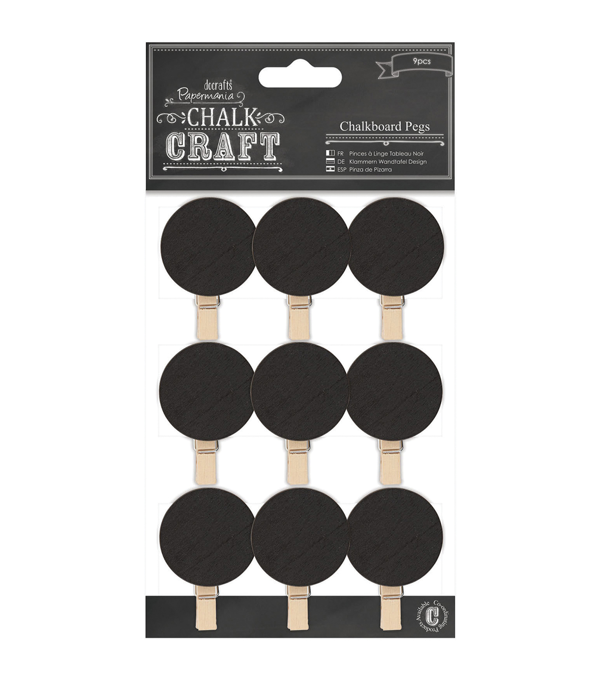 Papermania Chalk Craft Circles Chalkboard Pegs