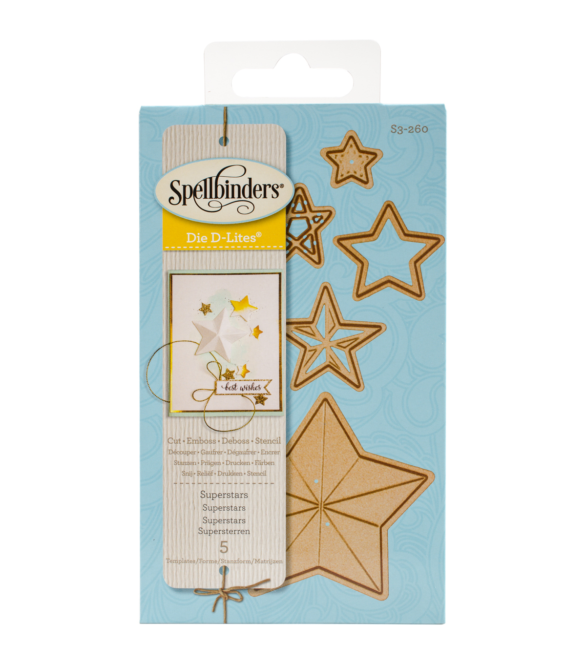 Spellbinders Die D-Lites 5 Pack Etched Dies-Superstars