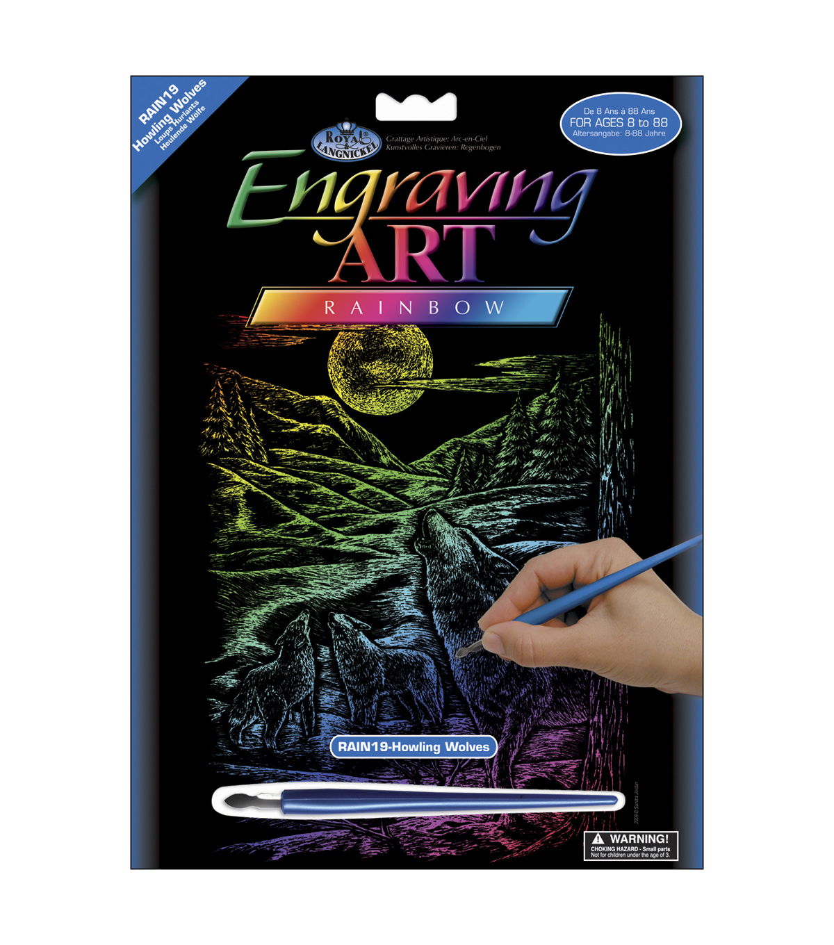 Royal Brush 8\u0022x10\u0022 Rainbow Engraving Art Kit-Howling Wolves