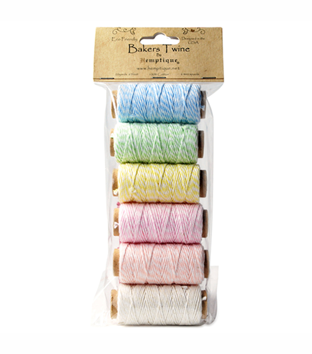Hemptique Baker\u0027s Twine 2 Ply Mini Spool Bag Set Creamy Pastel