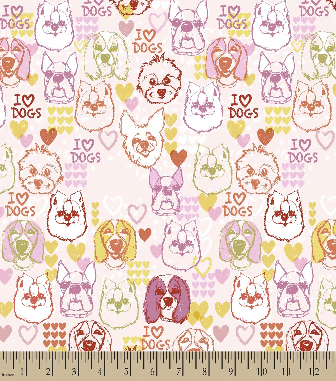 I Love Dogs Print Fabric