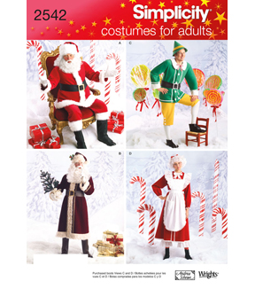 Simplicity Pattern 2542 Adult Christmas Costumes, Sizes Xs-small-medium