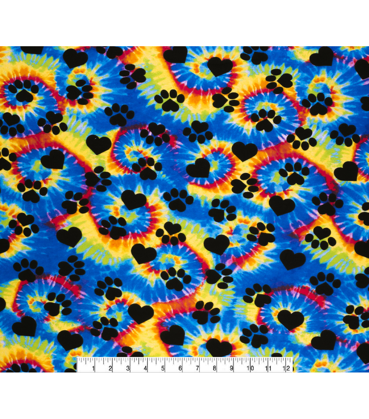 Super Snuggle Flannel Fabric-Tie Dye Puppy Paws and Hearts