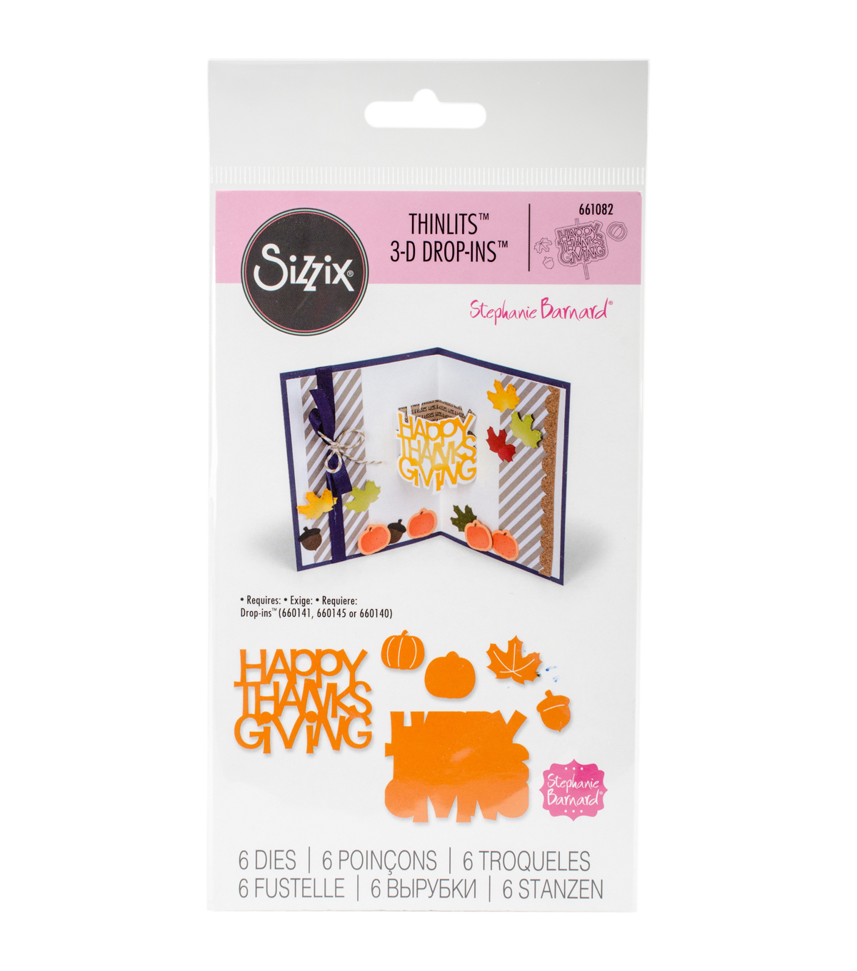 Sizzix Thinlits 6 Pack Dies-Happy Thanksgiving 3-D Drop-ins