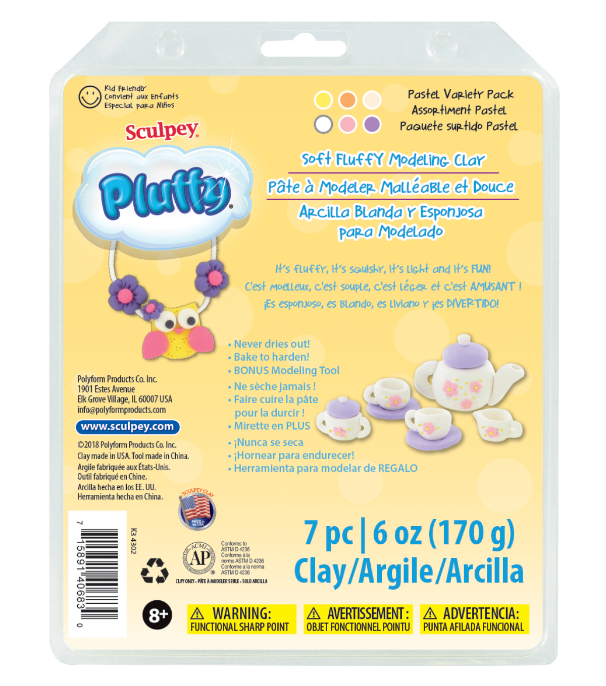Sculpey Pluffy 8oz. Variety Pack Clay-Pastel
