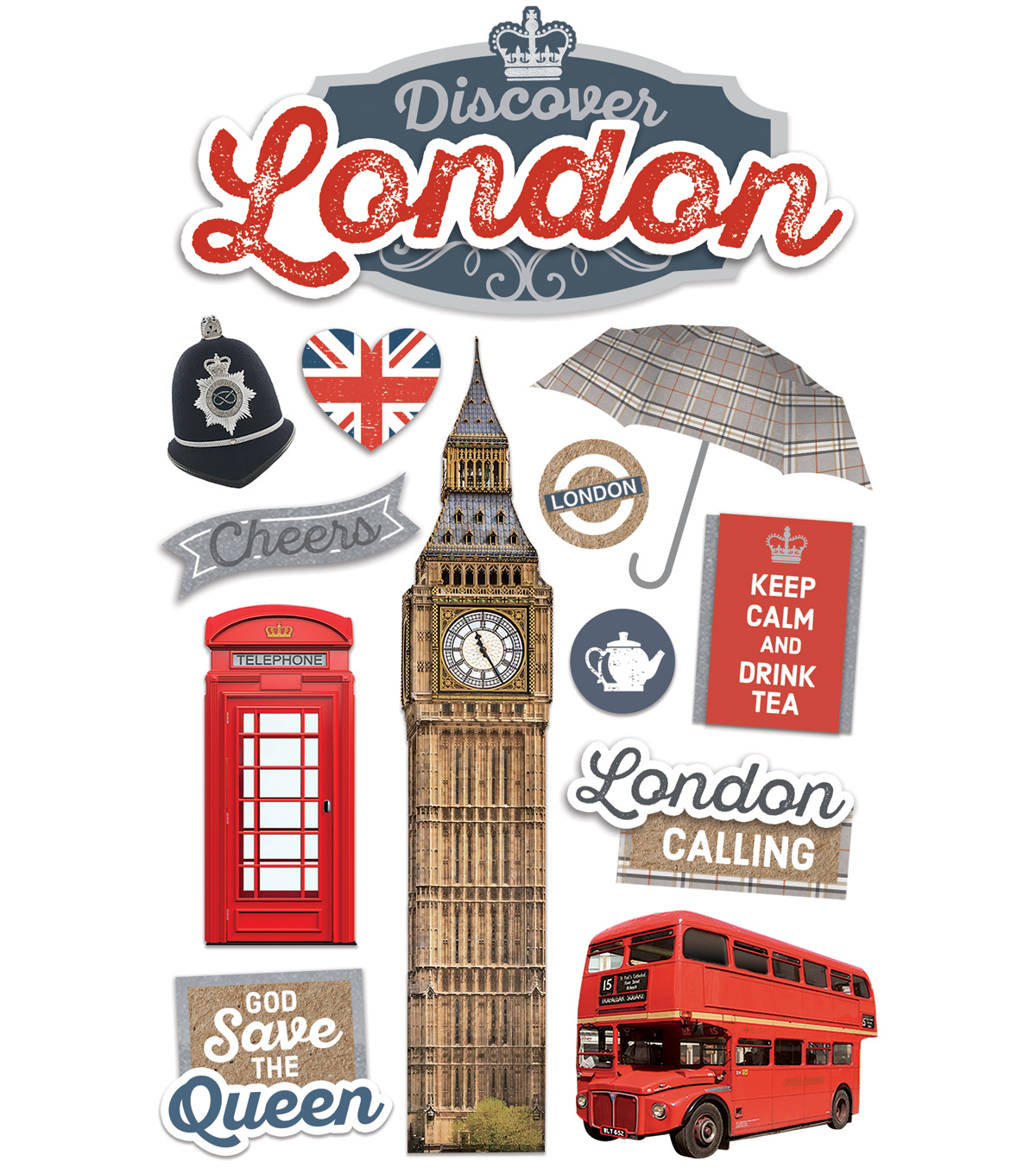 Paper House 4 5''x8 5'' 3D Stickers-Discover London