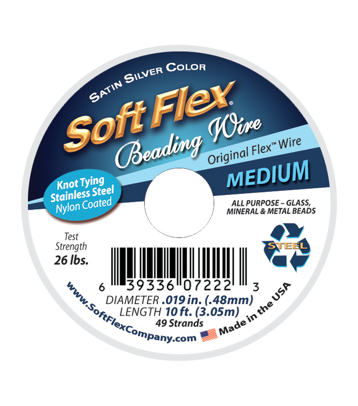 Soft Flex Wire Medium, .019 Diameter, 49 Strand, Original Satin ...