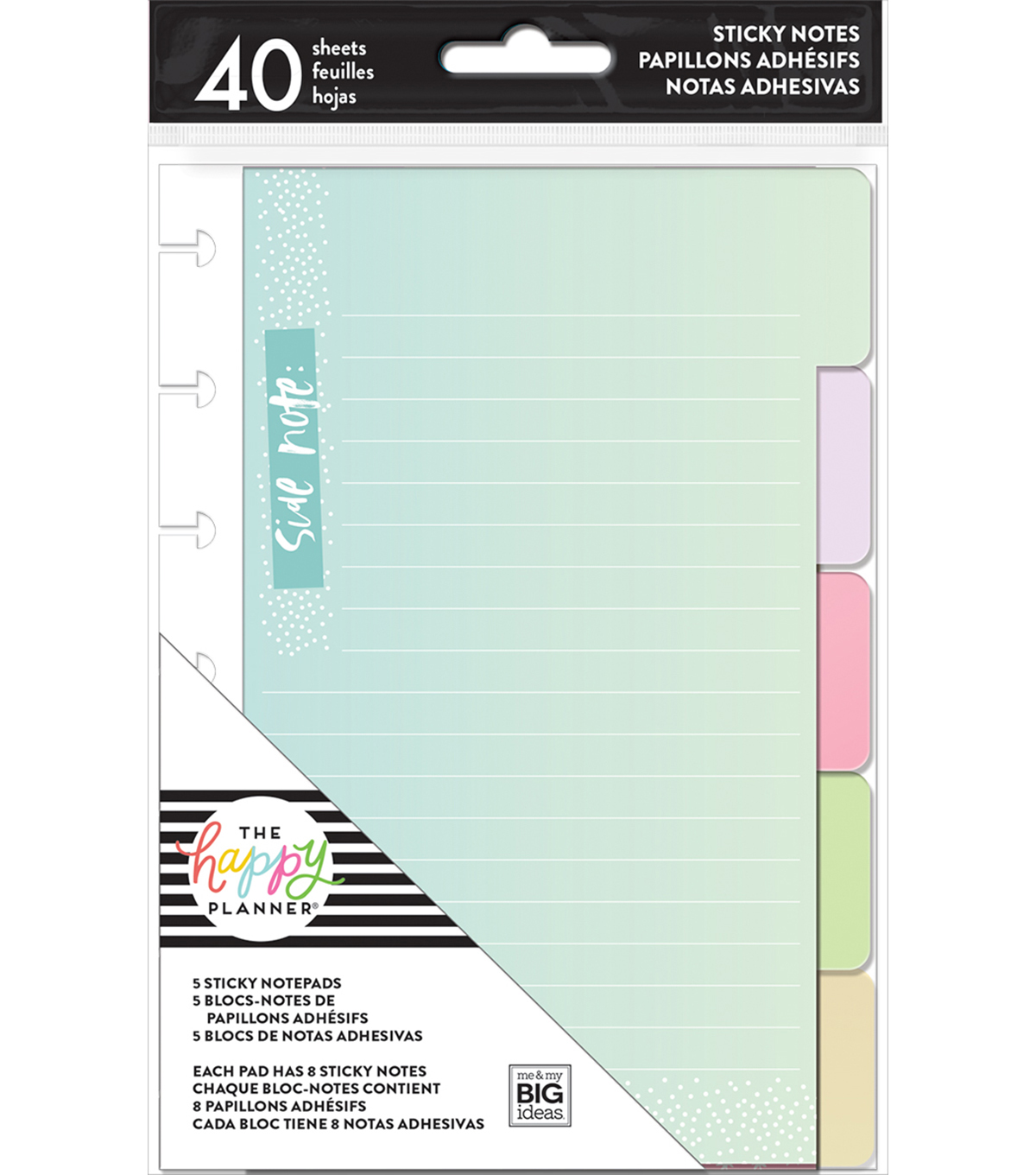 The Happy Planner 5 Sticky Notepads-Pastels