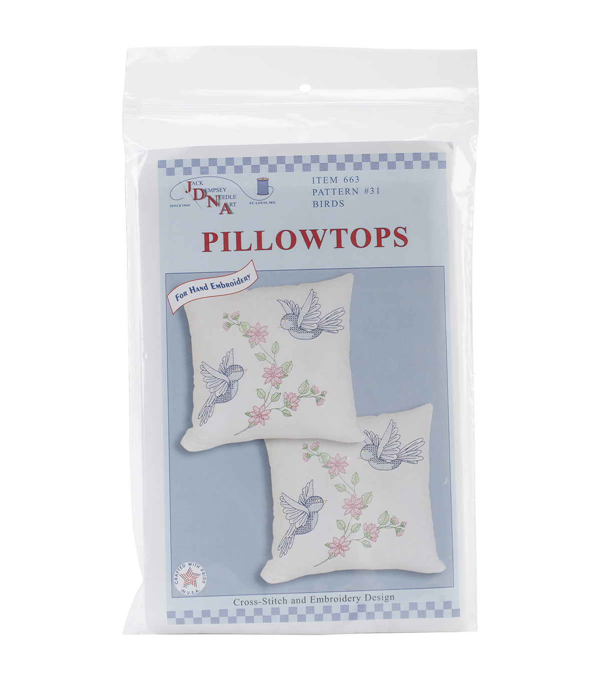 Stamped White Pillowtops 15\u0022X15\u0022 2/Pkg-Birds