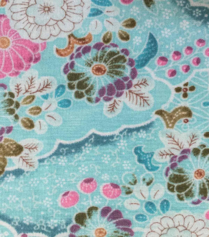 027ea943ebe Knit Fabric 57\u0027\u0027-Floral & Geometrics on Aqua