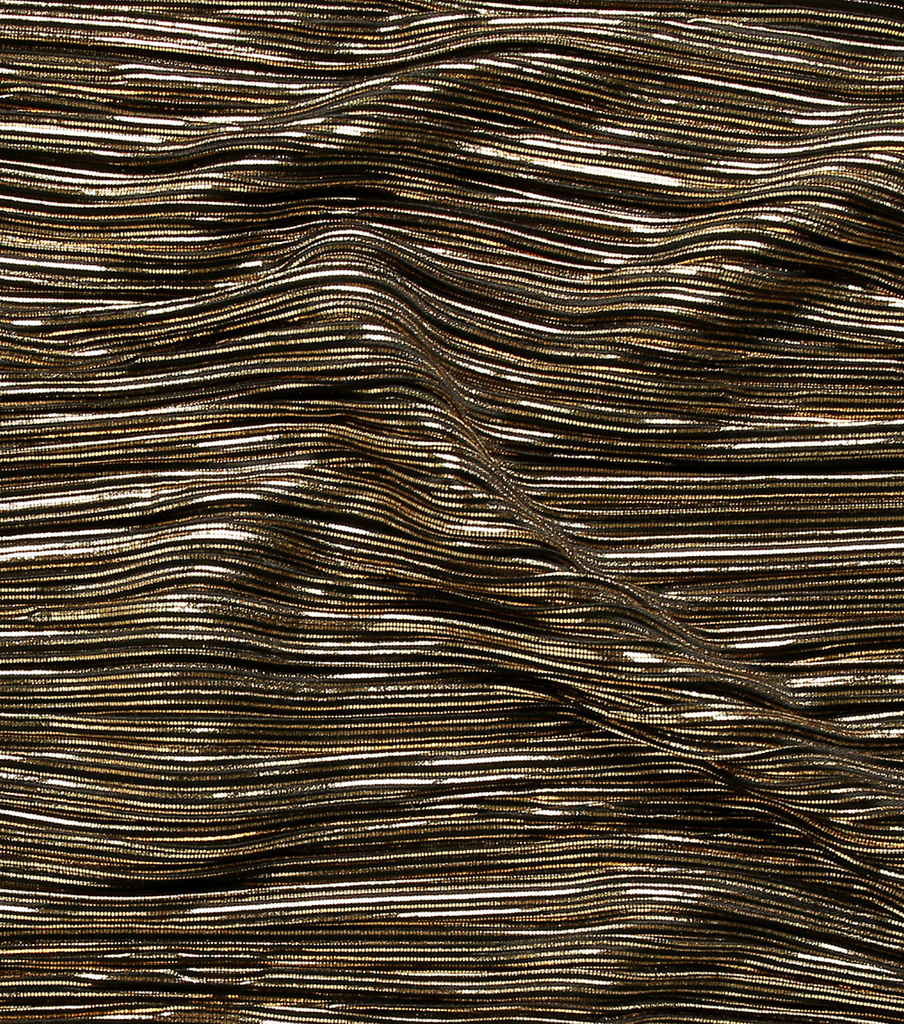 Pleated High Shine Fabric-Gold & Black