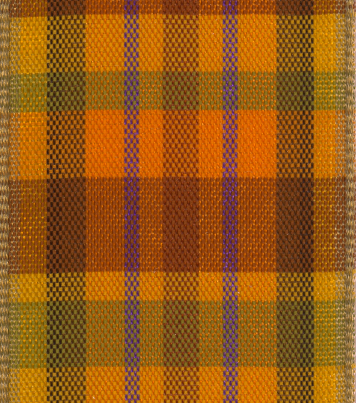 Offray 1.5\u0022x9\u0027 Fall Checks and Plaids Woven Wired Edge Ribbon-Harvest