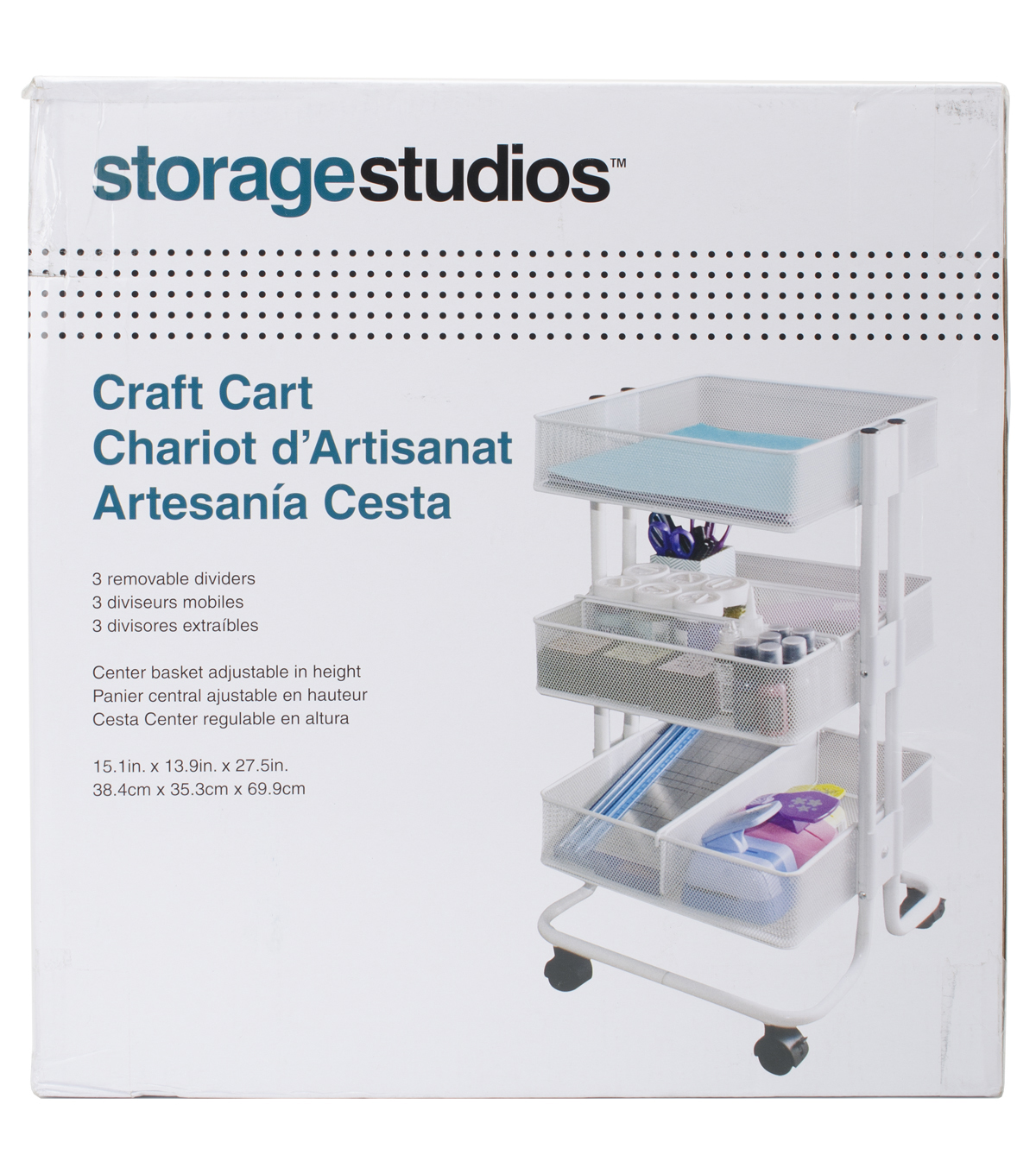 Gentil Storage Studios Rolling Craft Cart With Three Bins