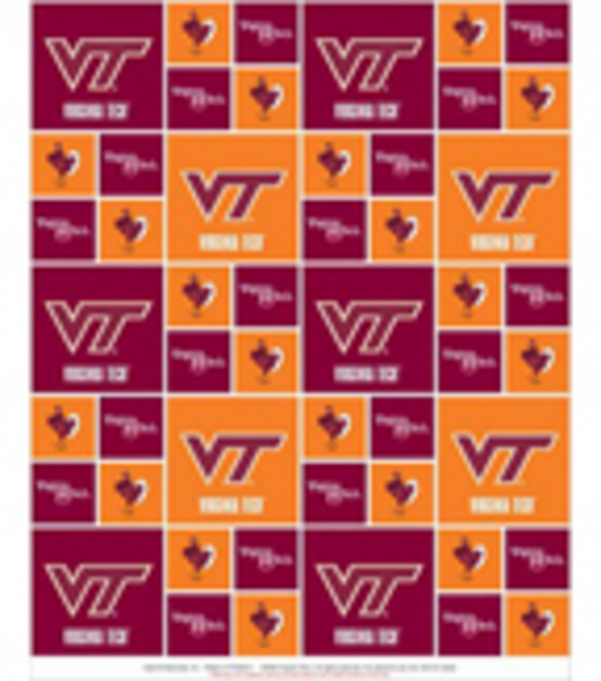 Virginia Tech Hokies Cotton Fabric 43\u0027\u0027-Block