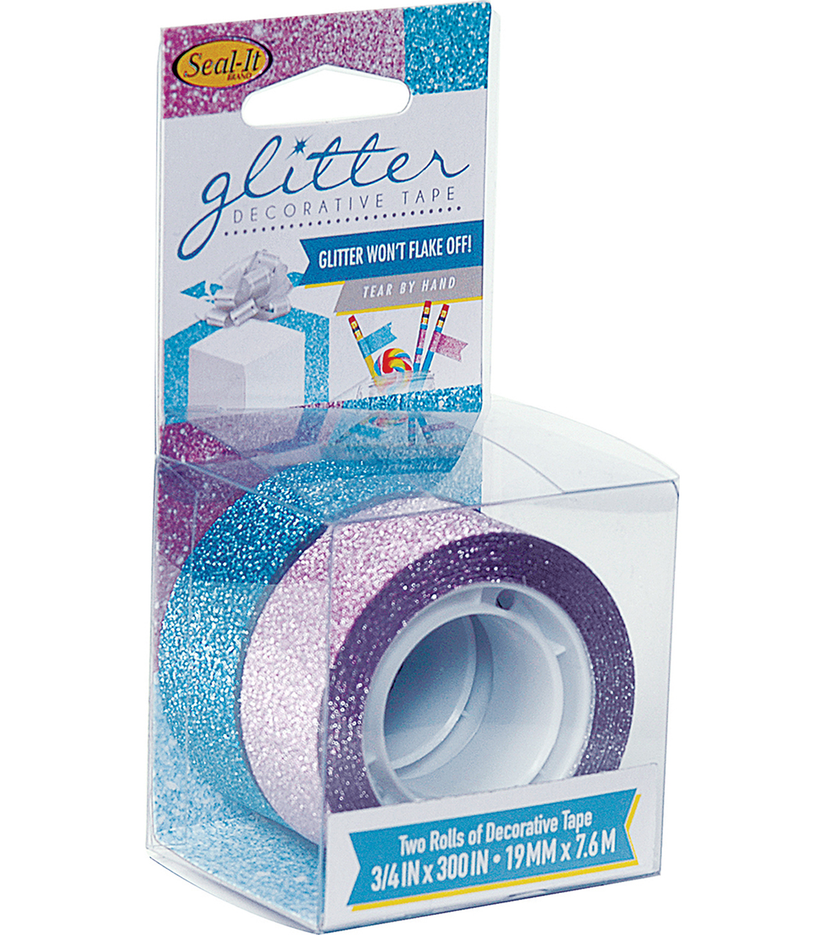 Seal-It 2 pk Decorative Glitter Tapes 3/4\u0027\u0027x300\u0027\u0027-Pink & Blue
