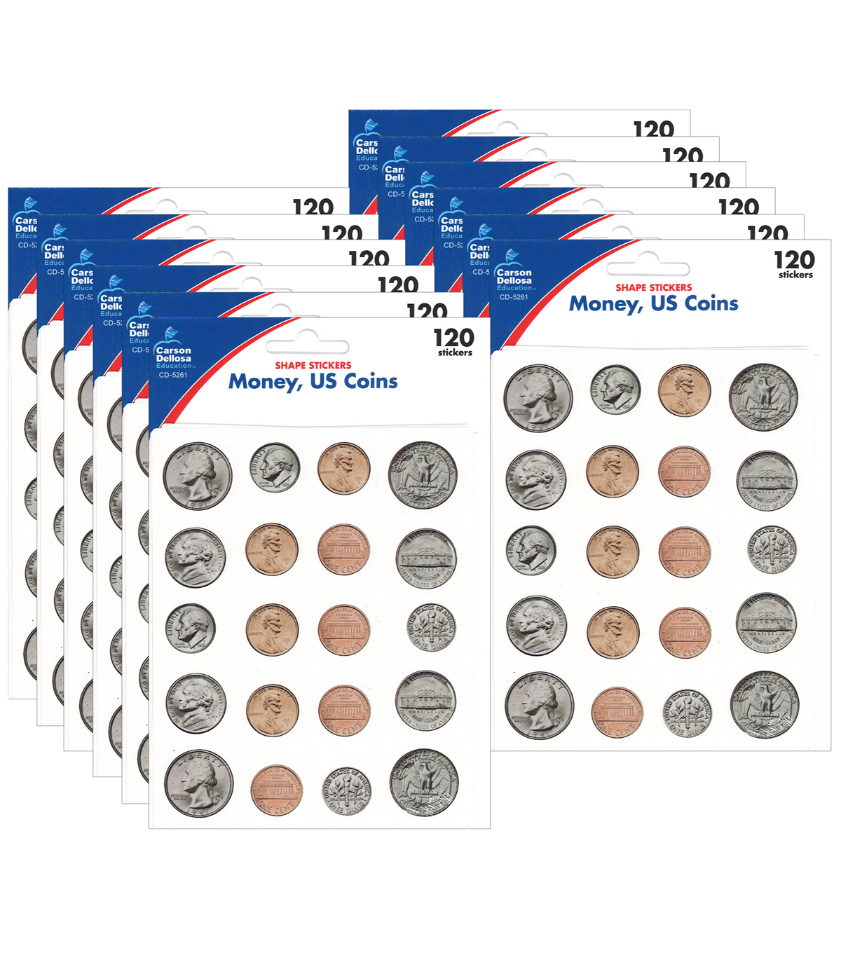 Carson Dellosa Money U.S. Coins Shapes Stickers 12 Packs