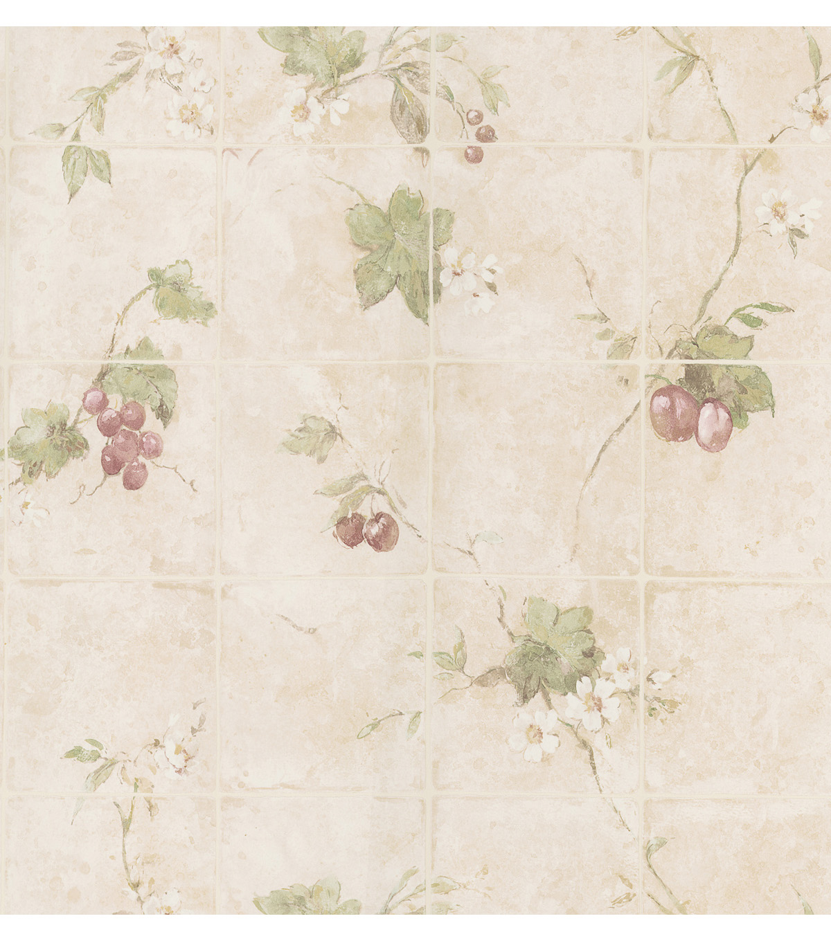 Cerise Peach Vine Tile Wallpaper Sample