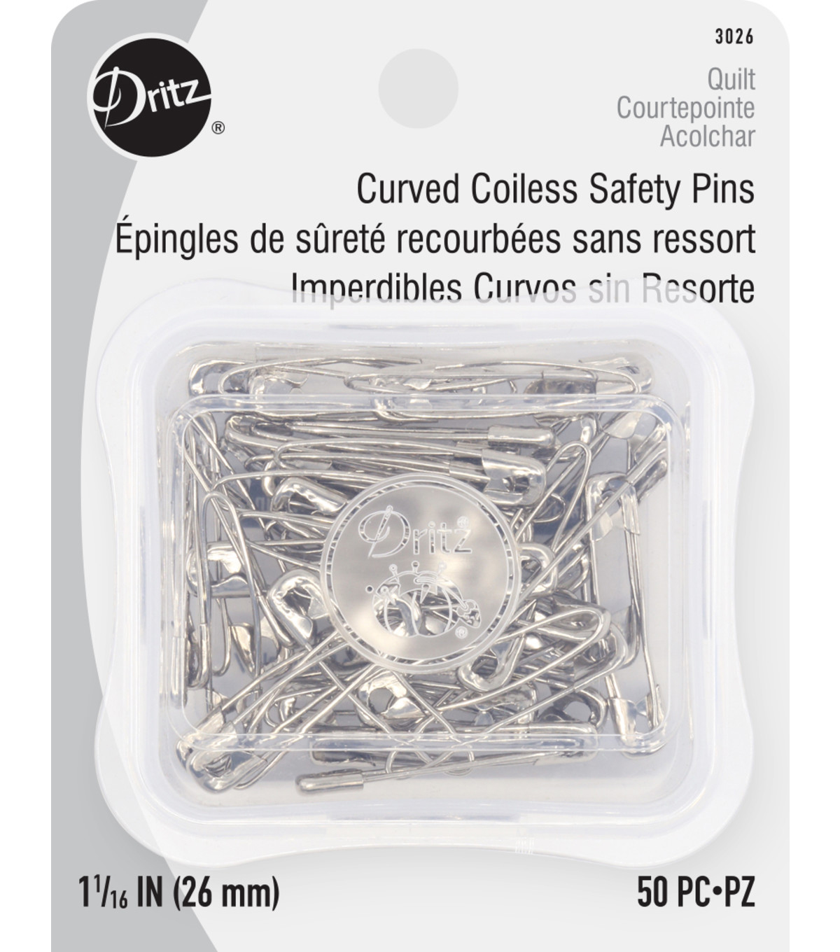 Coil-Less Curved Safety Pin Size 1 50 Ct
