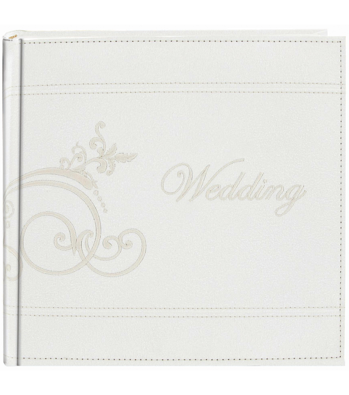 Pioneer Embroidered Scroll Leatherette White Photo Album 8\u0022x8\u0022