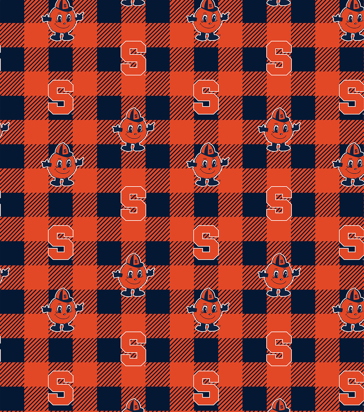 Syrcuse University Orange Fleece Fabric-Buffalo Plaid
