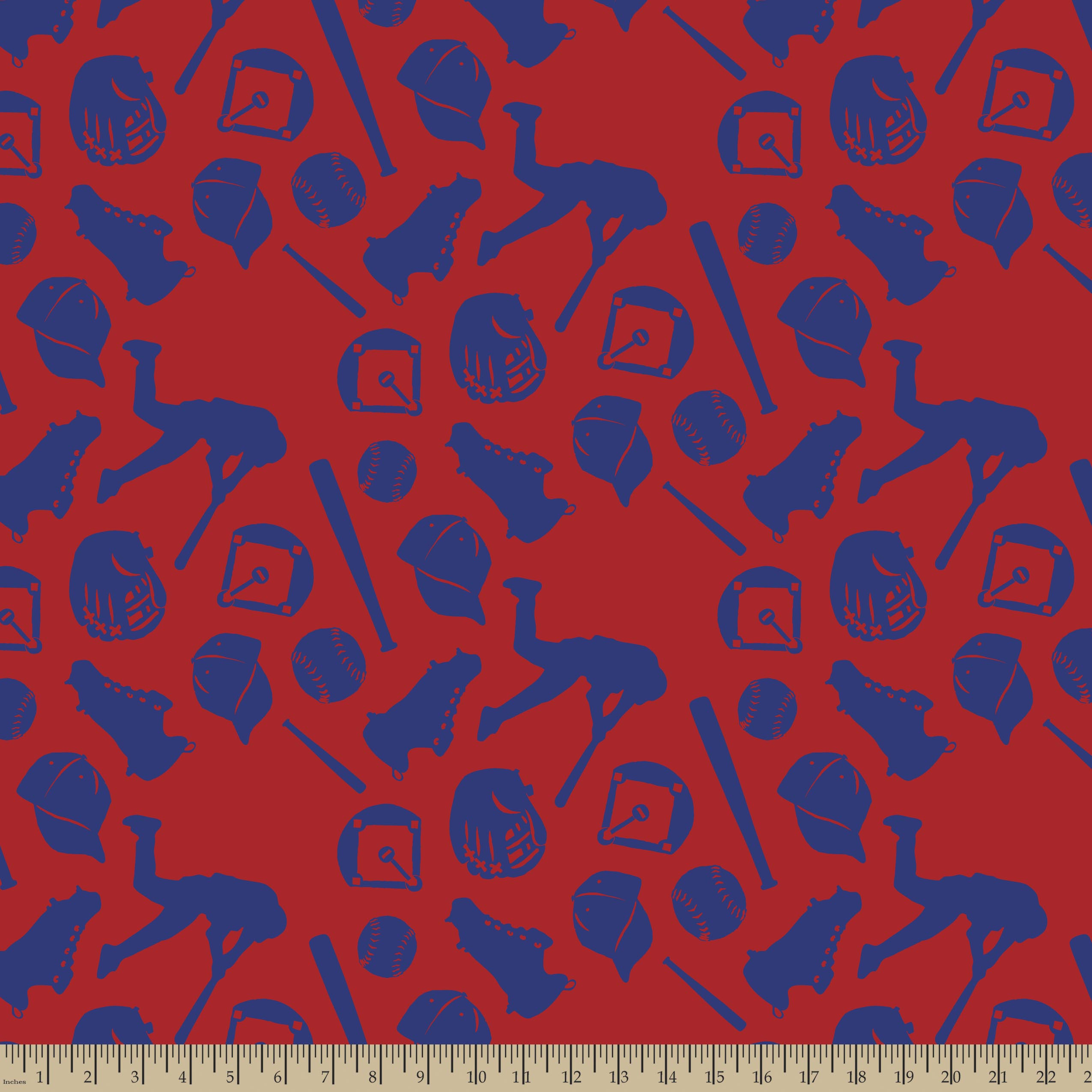 Red & Blue Baseball Print Fabric