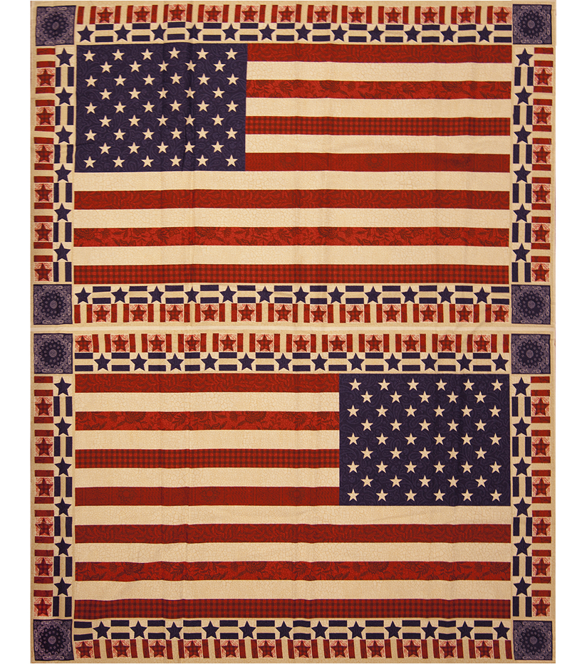 Patriotic Cotton Fabric 43\u0022-Flag Banner Panel